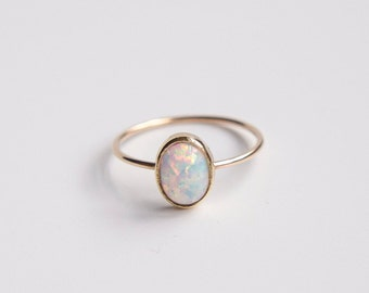 Opal Ring- Oval Opal Ring- 14k Solid Gold Oval Opal Ring-  Oval Opal Ring Silver- Oval Opal Ring Gold-Opal Ring Rose Gold-Stacking Ring Gold