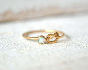 Gold Opal Ring- Dainty Opal Ring, Knot Opal Ring,Opal Gemstone Ring, Opal Stacking Ring, Small Opal Ring,White Opal Ring Opal Stackable Ring