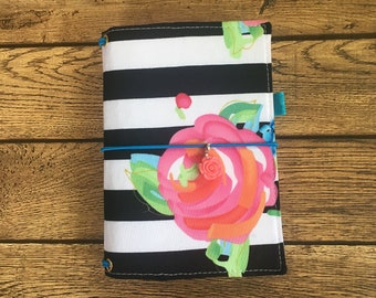 Made to Order Travelers Notebook Cover -Fabric Dori - Faux Dori - Pink Rose Buds - Black and White Stripes  -Multiple Sizes