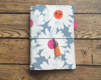 Made to Order Travelers Notebook Cover -Fabric Dori - Faux Dori - Happy Flowers w/ Pockets and Pen Loop - Multiple Sizes