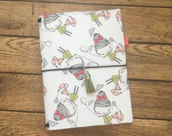Made to Order Travelers Notebook Cover - Fabric Dori - Faux Dori - Up, Up, and Away w/ Pockets and Pen Loop - Bullet Journal - TN Cover