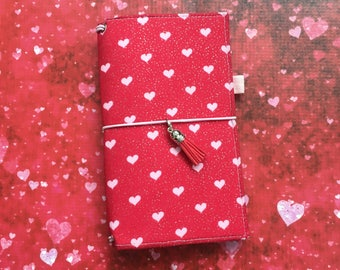Made to Order Travelers Notebook Cover - Fabric Dori - Faux Dori - Glitter Hearts w/ Pockets and Pen Loop