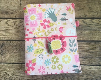 B6 Ready To Ship Travelers Notebook Cover -Fabric Dori - Faux Dori - Fairy Forest - Pink Flowers - Pink Daisies -  Quote Charms - B6