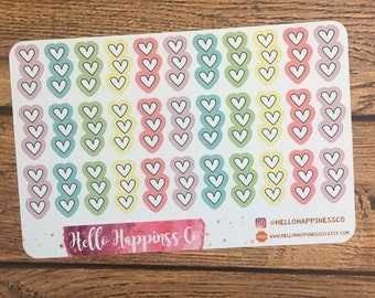 Half Heart Checklists- To Do List List Stickers - Half Checklist Stickers - Checklists - Planner Stickers - Functional Stickers