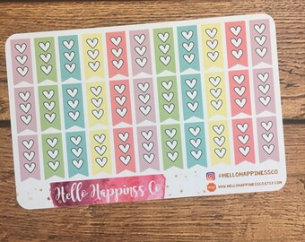 Half Heart Checklists- Heart Checklist - To Do List - Checklist Stickers- Half Checklists-  Planner Stickers - Functional Stickers