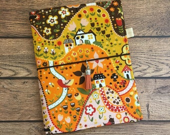 Made to Order Travelers Notebook Cover - Fabric Dori - Faux Dori - Willow Grove Autumn w/ Pockets and Pen Loop - Bullet Journal - TN