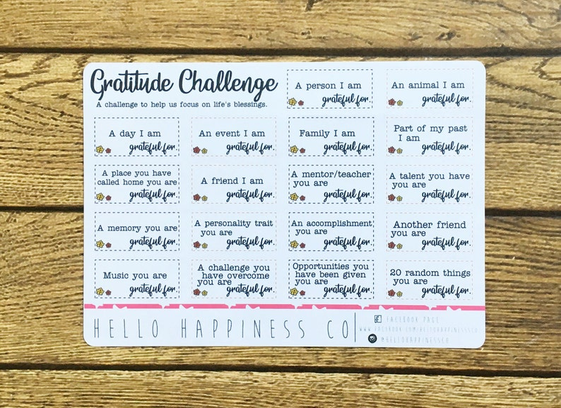 Gratitude Challenge Planner Stickers