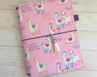 Made to Order Travelers Notebook Cover - Fabric Dori - Faux Dori - Travelers Notebook Cover - TN - Bullet Journal - BuJo - Llama Friends
