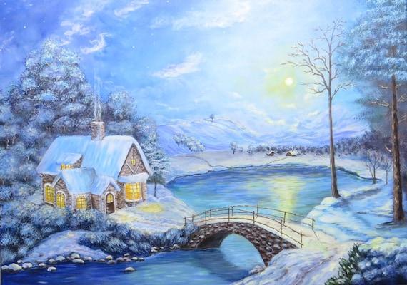 Fairytale Cottage Winter Landscape Painting Cottage Painting Etsy