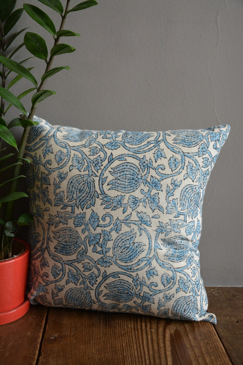 Khadi Pillow Cover Hand Spun And Handwoven Cushion Cover Hand Block Printed Decorative Pillow Cover Printed Cushion Cover