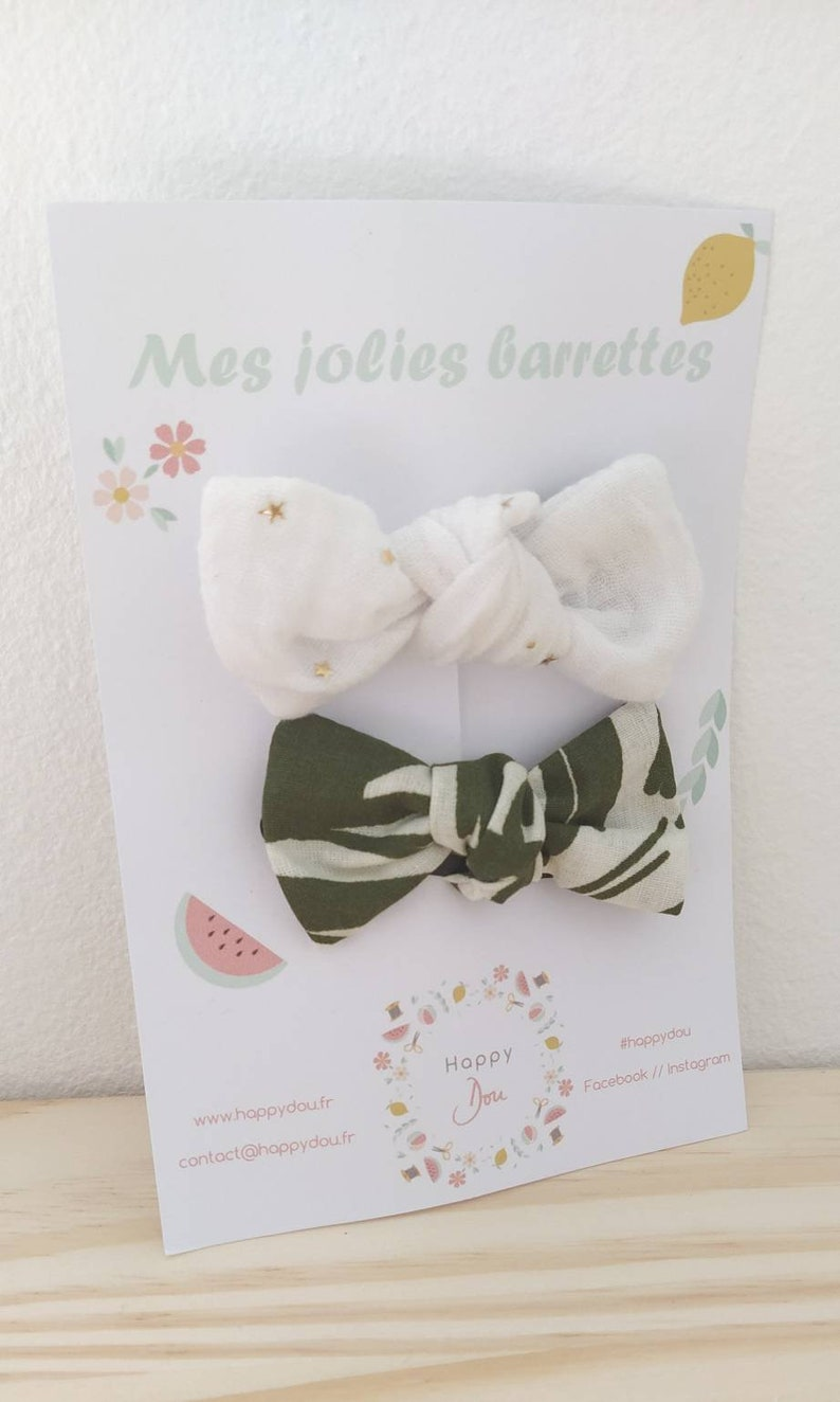 Lot of 2 Barrettes double gauze knot  accessory hairstyle  image 0