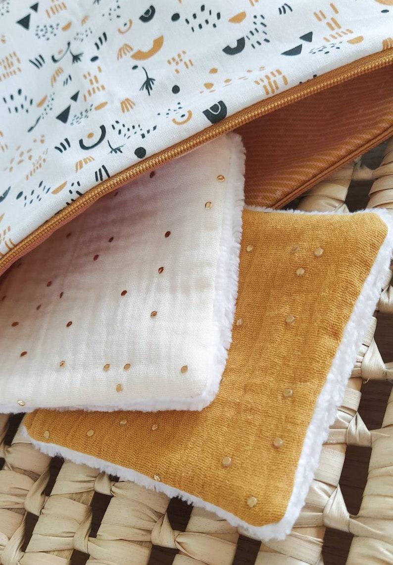 Kit toiletry kit custom kit  mustard geometric fabric image 0