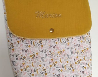 Backpack, child bag, baby bag, binder, pouch - flower/pink and mustard fabric