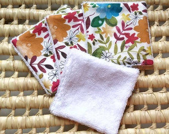 Lot of 5 washable wipes, make-up remover wipes, washable cottons, floral patterns