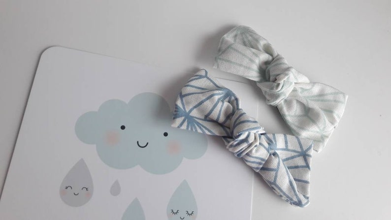 Hair clip bow blue and mint  hair accessory image 0