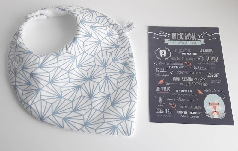 Bib bandana / dentition patterns blue origami  cotton sponge image 0