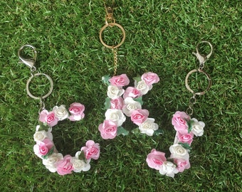 Personalised Floral Letter Key Chain