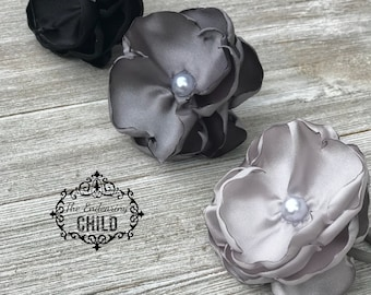 Black Silver Gray Hair Tie Ponytail Set - Flower Hair Tie - Flower Ponytail - Elastic Hair Tie - Ponytail Holder Set