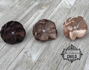 Brown Hair Tie Ponytail Set - Flower Hair Tie - Flower Ponytail - Elastic Hair Tie - Ponytail Holder Set