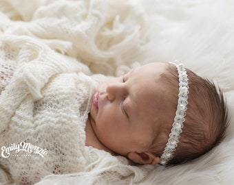 Pearl Tieback, Newborn Headband, NB-Toddler Size Tieback ~ Newborn Photography Prop