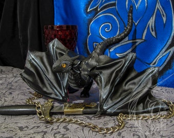 FOR ORDER! The Wyvern Dragon OOAK toy dragon poseable art doll resin, imitation leather, acrylic, paint, clay