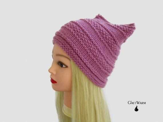 Warm pink Knit cat hat with ears for women