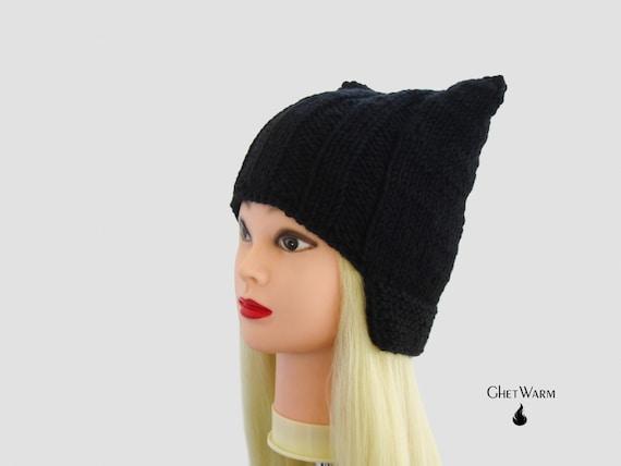 qualité supérieure États Unis en ligne ici Chapeau, bonnet oreilles de Kitty, serre tête oreille de chat, chapeau chat  noir, animaux oreilles, chapeau oreille de chat en tricot, tricot chapeaux  ...