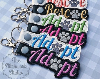 Adopt - Rescue Keychain - Key Fob - Multiple Color Options!
