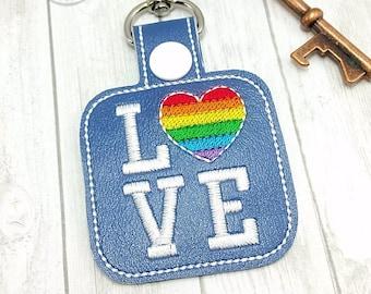 Love Keychain - Rainbow Heart - Key Fob - Multiple Color Options!