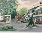 Essex in Spring, Wall art of the Griswold Inn, classic American restaurant in a colonial-style hotel. Destination in historic seaport .