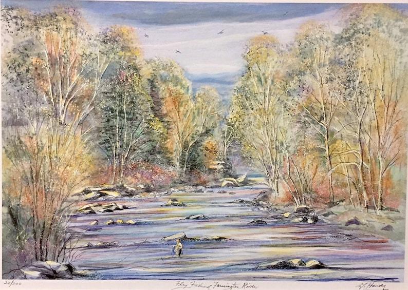 Farmington River,one of Connecticut\u2019s scenic fishing places nostalgic autumn scene by Gerald Hardy Fly Fishing 11\u201dx14\u201d matted art work.