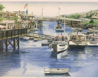 Ogunquit in Summer, Maine seacoast art, harbor gift art, matted framable wall art