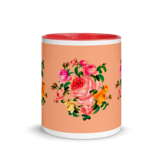 Orange ceramic Mug with red color Inside, print beautiful wreath of roses in traditional English style. Best gift for mom rose lover.