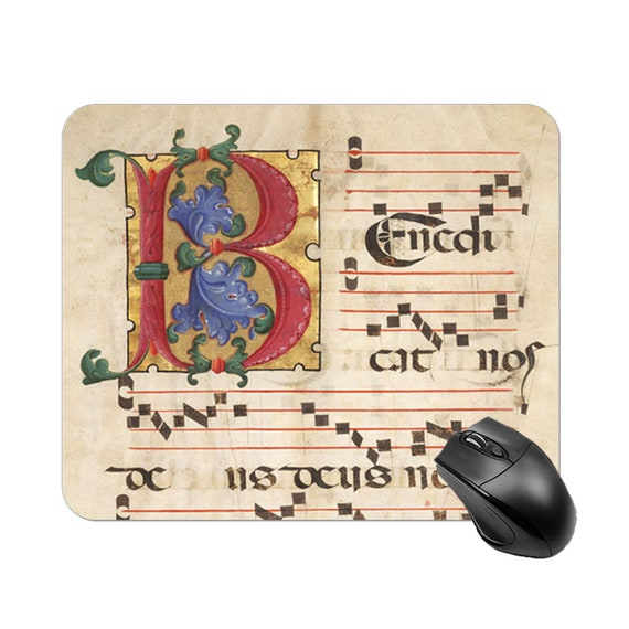 Square Mouse Pad Non-Slip Base for Computer Laptop Home Office print Letter B Medieval Monogramm musical score sheet music music notes