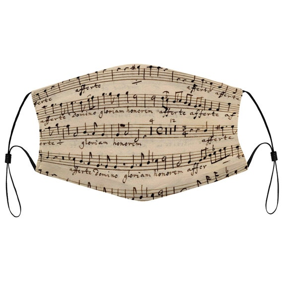 Reusable breathable face mask with two filters Musical print with musical notes music score print Sheet Music with two filters for women men