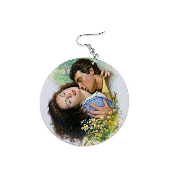 statement jewelry, Light Wood Round Dangle Earrings Printed hugging and kissing couple in love, bouquet of flowers Personalized gift for her