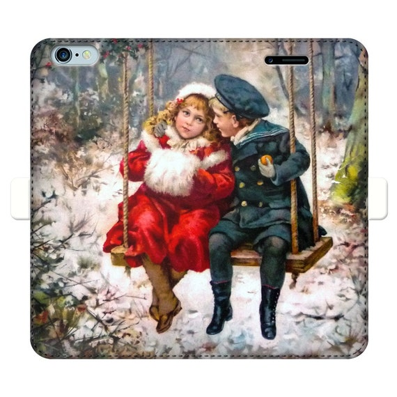 Fully printed wallet cases for iPhone and Samsung S Snowy winter of 1900. Girl and boy, swing on a swing surrounded by snowdrifts romantic