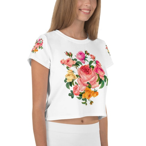 All-Over Print Crop Tee Seductive bouquet of roses Garland of flowers, Garland of roses, Large rose, bouquet of roses, romantic wreath roses