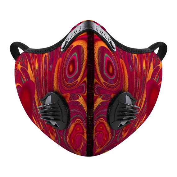 Breathable Face Mask Changeable Activated Carbon Filter Reusable Adjustable Nasal Thread Printed Artic Red for Men and Women