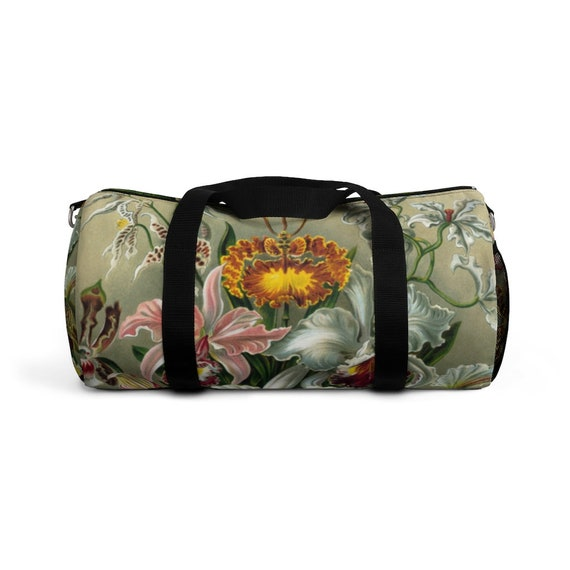 Large comfortable shoulder bag for travel, sports, walking. Unique artistic oil painting Luxurious orchids, perfect gift for women and men