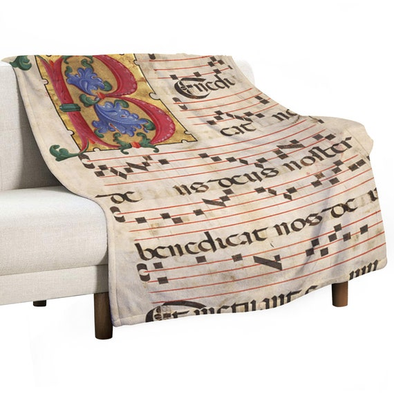Soft Warm Blanket Anti-pilling Flannel Comfortable Light Thin Printed with Monogram letter B and medieval music score for Meloman Musician