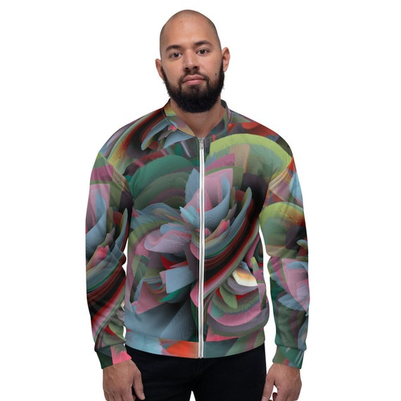 Unisex trendy bomber jacket trend of the season print in 3D by avant-garde contemporary artist limited collection custom made for men