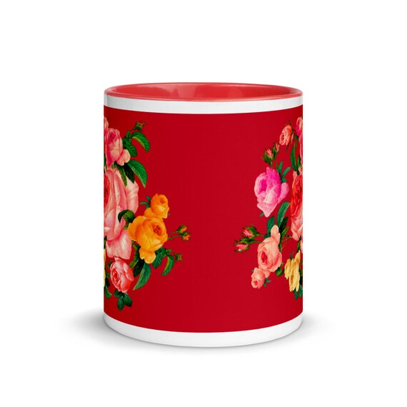 Red ceramic Mug with red color Inside, print beautiful wreath of roses in traditional English style. Best gift for mom rose lover.