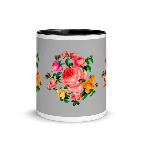 Ceramic tea and coffee cup gray outside and black inside. Traditional english shabby chic rose wreath print for her