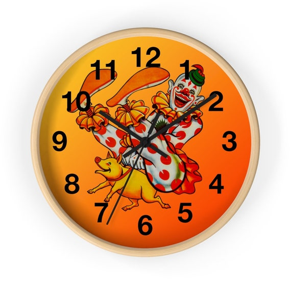 Large round wall clock fun print of a laughing clown rides a piglet for children's room living room creating fun festive design happy mood