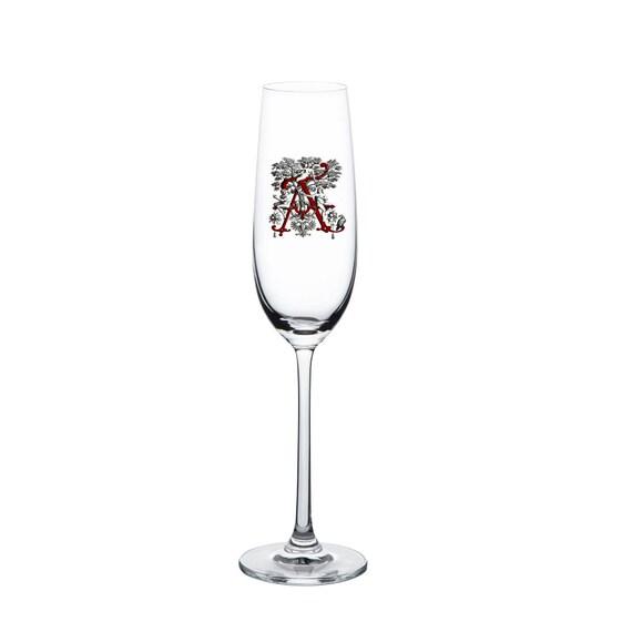 Best Gift Set Custom Monogrammed Flute Champagne Glasses Letter A UV Printing 8oz Flute Custom Monogrammed Champagne Glasses Letter A