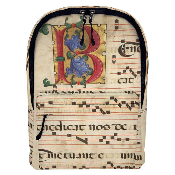 Durable Waterproof Medium Size Laptop Backpack Printed with Monogram letter B and medieval music score for Meloman or Musician music student