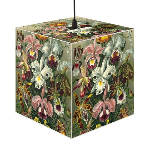 Cube-shaped lampshade, unique romantic print Luxurious Orchids flowers. For the creation of a joyous festive atmosphere