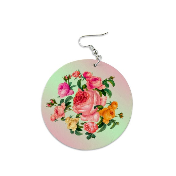 Round wooden dangling earrings painted with Rose Bouquet Rose Garland flower design for women and girls roses lovers and flower lovers