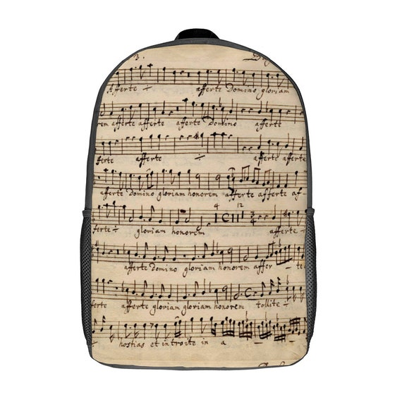 Medium rugged waterproof backpack with laptop pocket print music notes for Women  Men music lover musician music school student